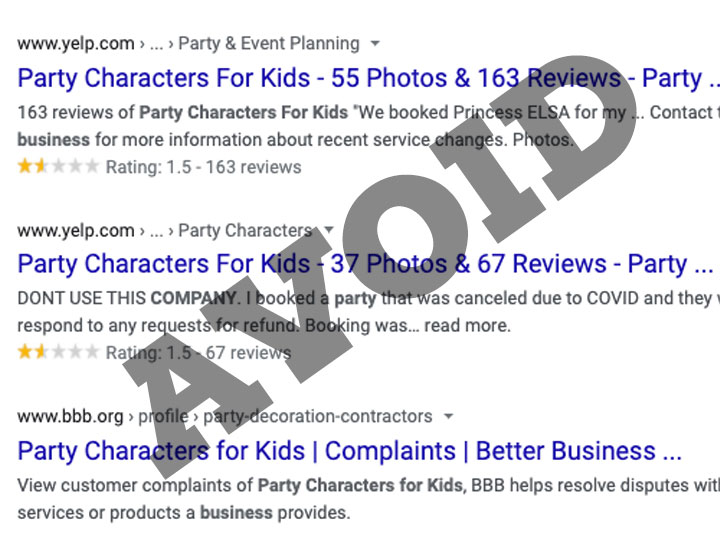 party characters for kids company reviews