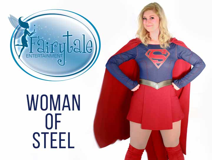 Supergirl superhero party character for hire