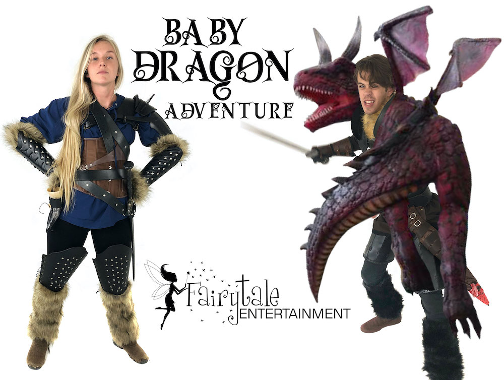 rent a baby dragon for kids birthday party or event, baby dragon party character for kids, rent viking for kids birthday party
