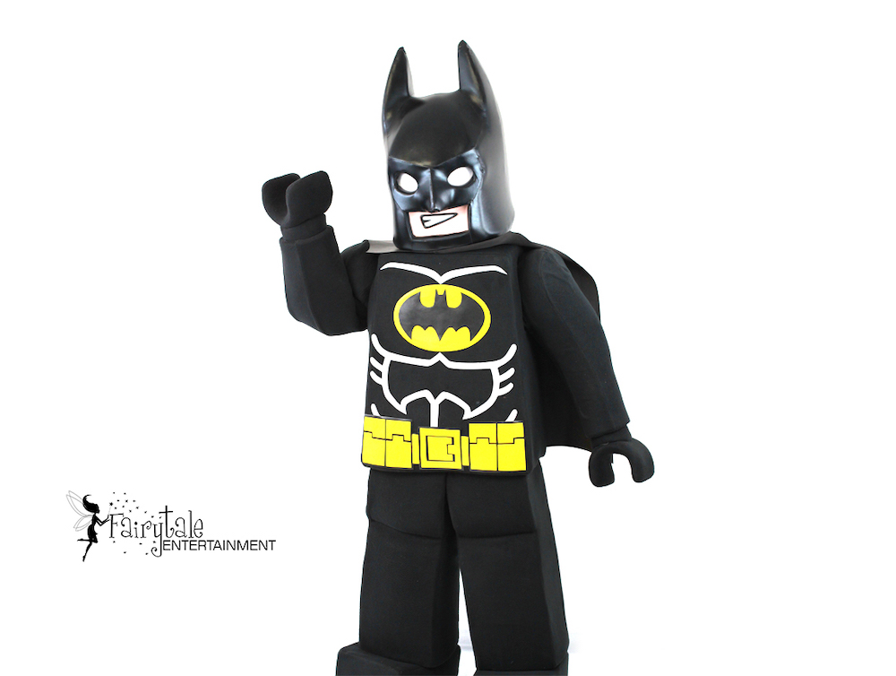 Rent Lego Batman Party Character for Kids Birthday, Lego Batman superhero party character for hire