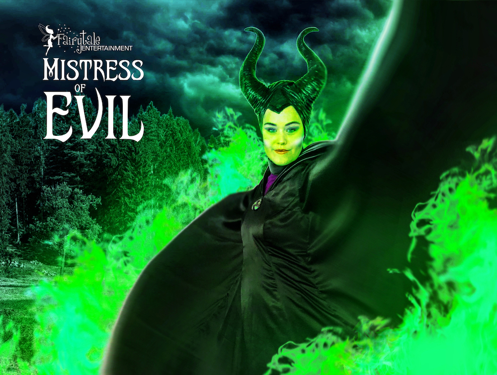 Hire Maleficent for kids Halloween party or event. Rent Maleficent for Disney Descendants birthday party for kids. Maleficent Strolling Performer.
