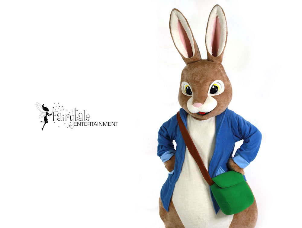 rent peter rabbit costume, peter rabbit kids party character