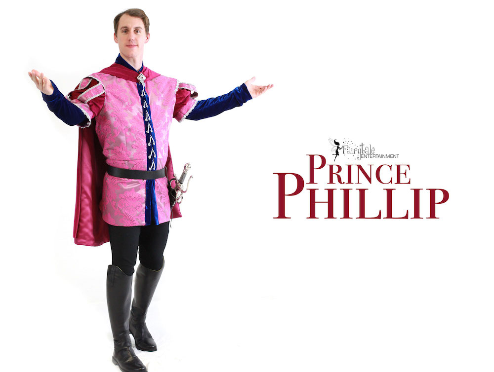 Prince Phillip character party for kids, sleeping beauty and prince Phillip party characters for kids