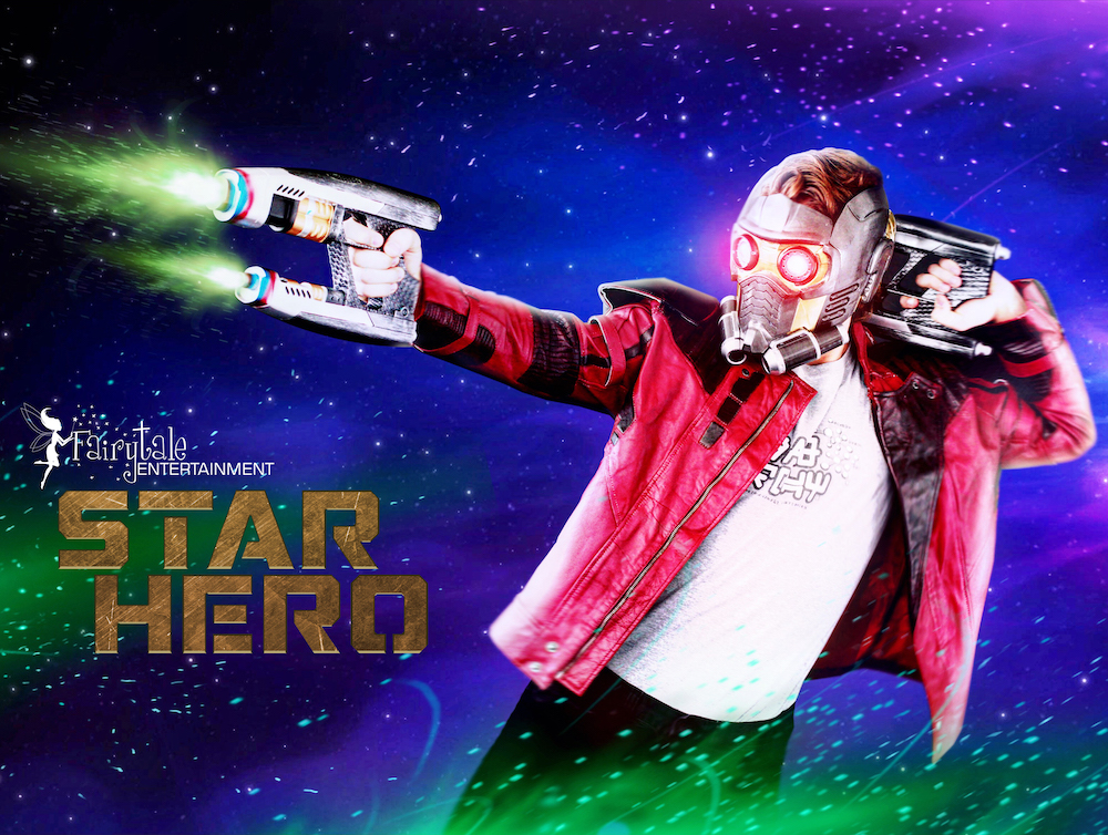 hire guardians of the galaxy star lord character, hire avengers star lord character for kids birthday party