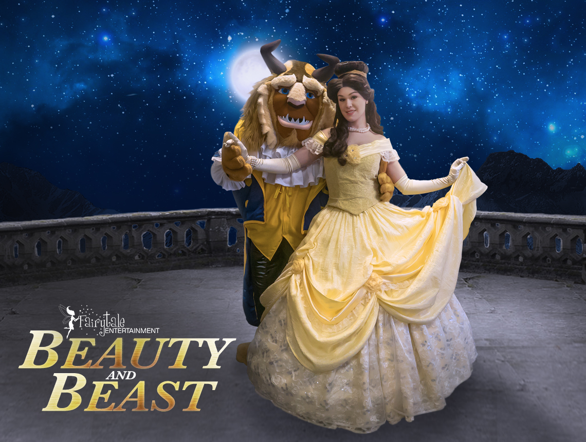 beauty and the beast princess party characters for kids, hire beast from beauty and the beast, rent belle and beast party characters