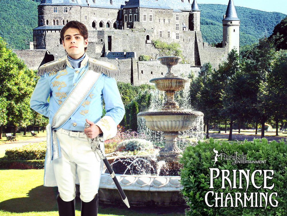 cinderella and prince charming characters for hire, hire prince charming and cinderella, prince charming character for kids, prince charming character party, prince charming party entertainment