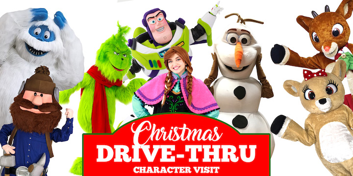 Christmas Drive Thru Character Visit in Metro Detroit Michigan