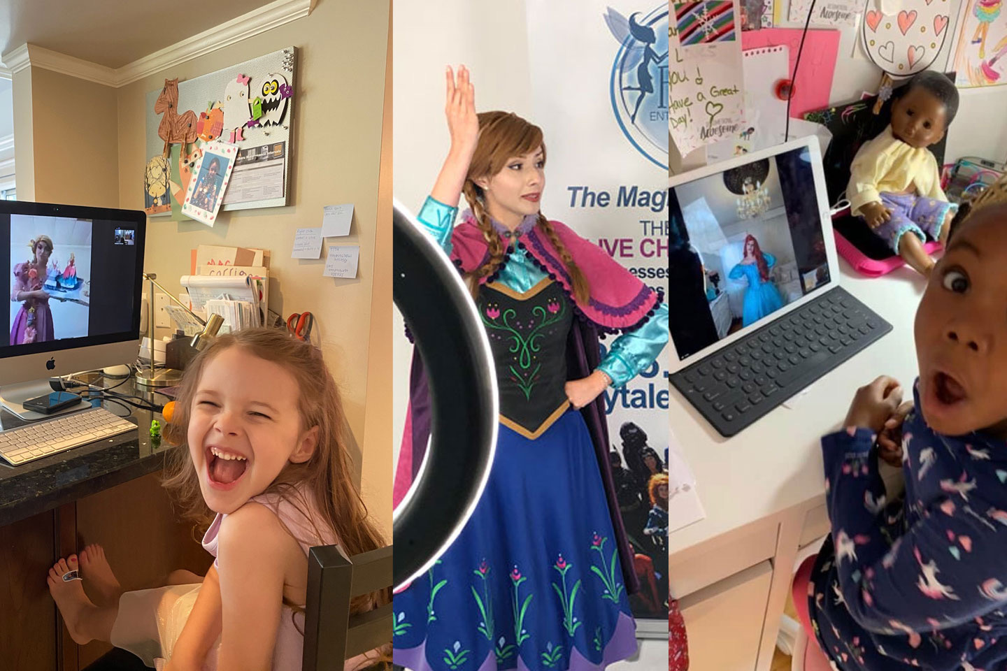 virtual character visit princess zoom calls for kids birthday party